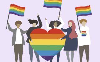 LGBTQ rainbow flags illustration