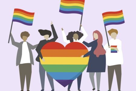 LGBTQ rainbow flags illustration